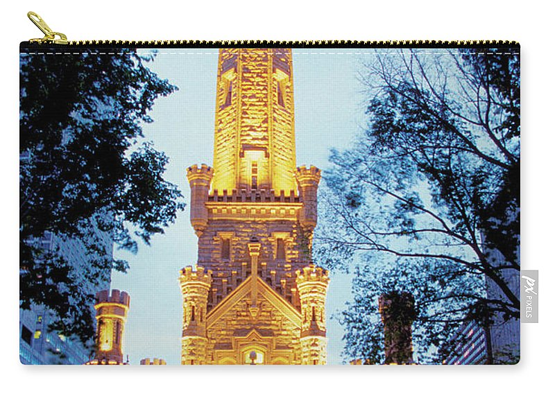 Travel16 Carry-all Pouch featuring the photograph Water Tower At Night In Chicago by Medioimages/photodisc