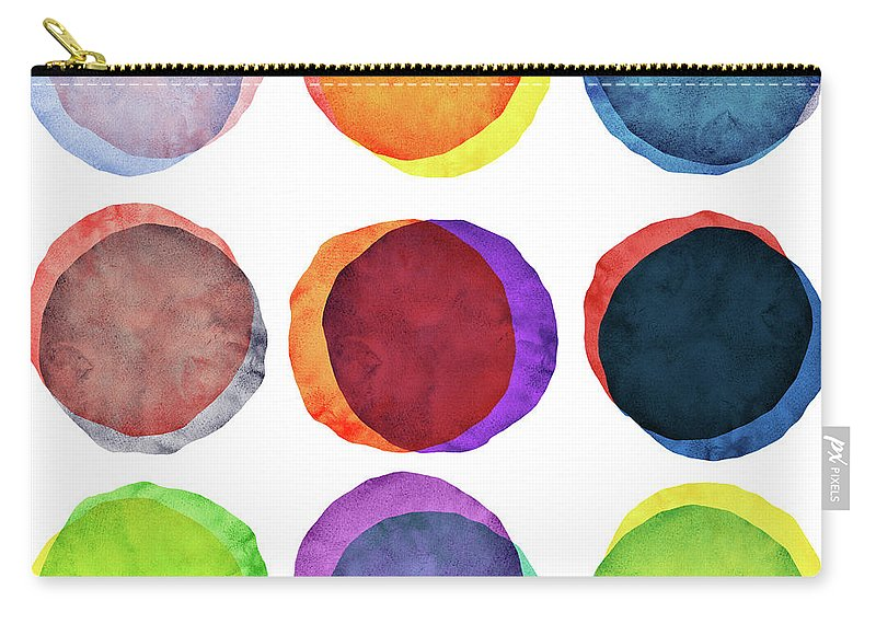 Watercolor Painting Carry-all Pouch featuring the photograph Watercolor Painted Circles Various by Momentousphotovideo
