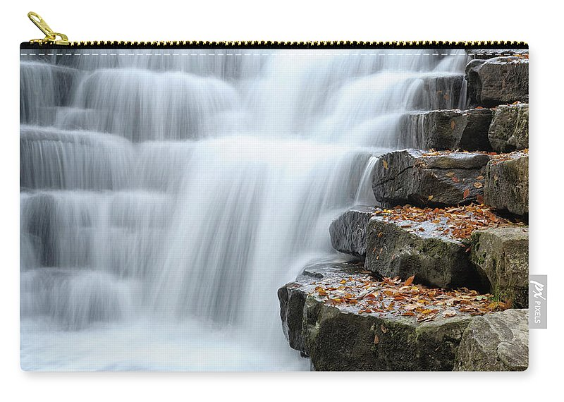 Steps Carry-all Pouch featuring the photograph Waterfall Flowing Over Rock Stair by Catnap72