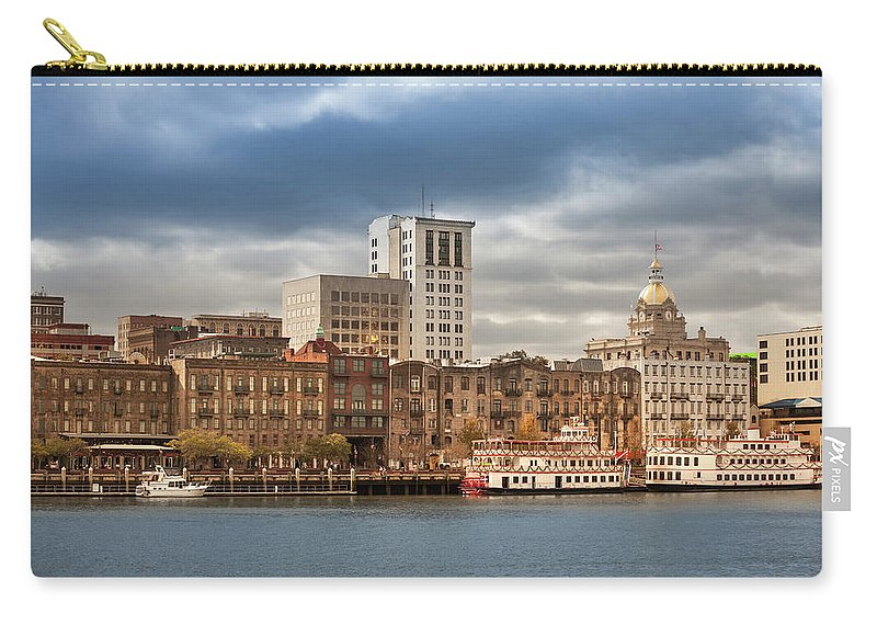 Scenics Carry-all Pouch featuring the photograph Waterfront Skyline Of Savannah Georgia by Pgiam