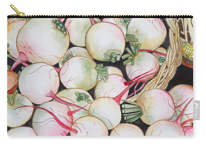 Pink Green Carry-all Pouch featuring the painting Watermelon Radishes And A Teeny Ear Of Corn by Kimberly Walker