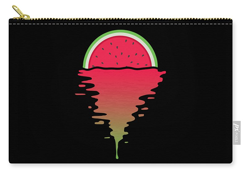 Watermelon Carry-all Pouch featuring the digital art Watermelon Sunset by Filip Schpindel