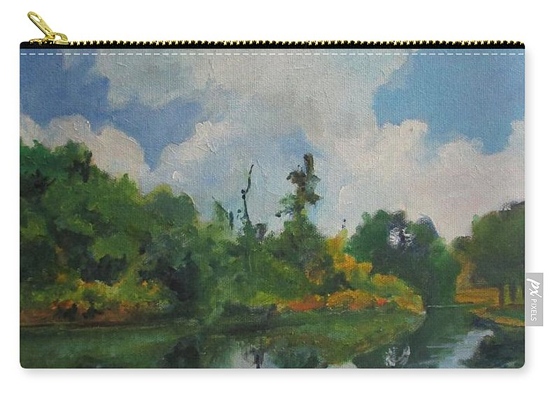 Barbara Moak Carry-all Pouch featuring the painting Waterway At Millennium Garden by Barbara Moak