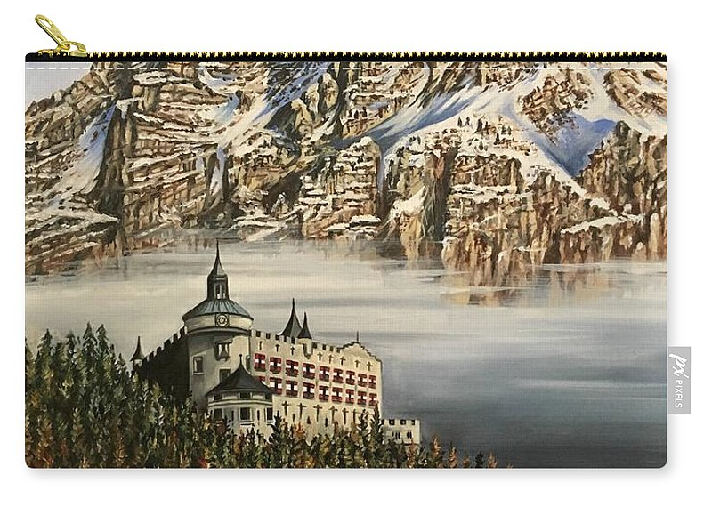 Castle Carry-all Pouch featuring the painting Werfen Austria Castle In The Clouds by Art By Three Sarah Rebekah Rachel White