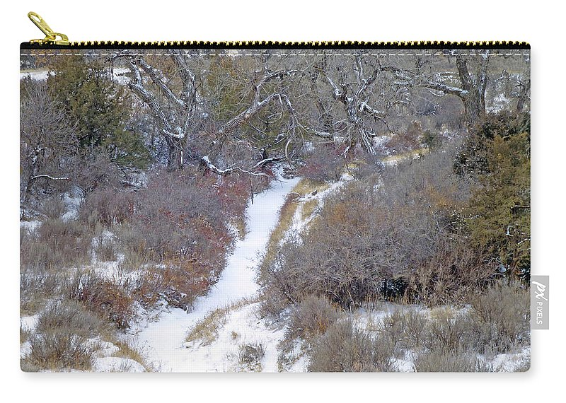 North Dakota Carry-all Pouch featuring the photograph West Dakota January Prairie by Cris Fulton