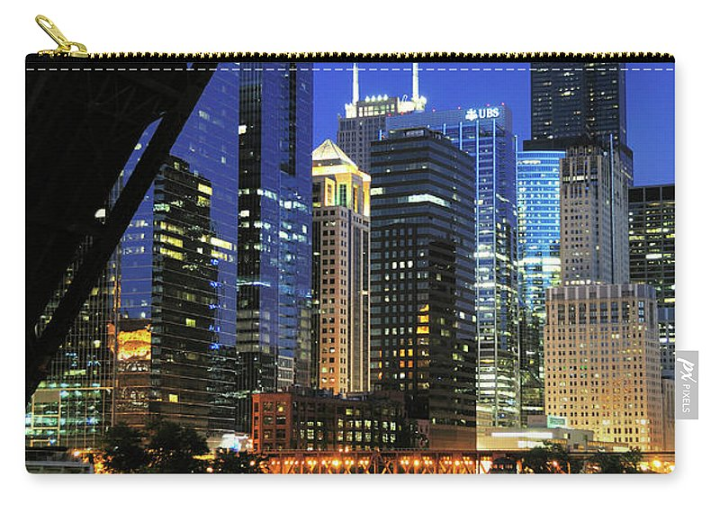 Downtown District Carry-all Pouch featuring the photograph West Loop From Kinzie Street Bridge by Bruce Leighty