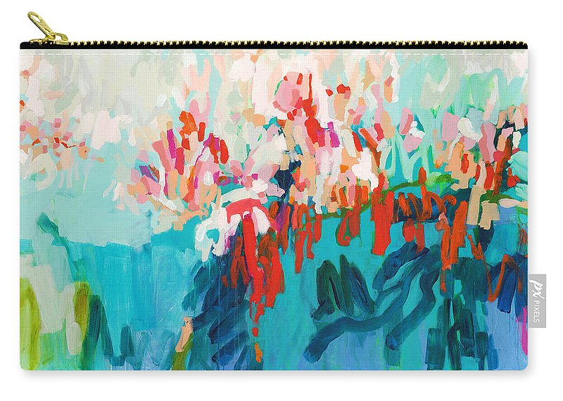 Abstract Carry-all Pouch featuring the painting What Are Those Birds Saying? by Claire Desjardins