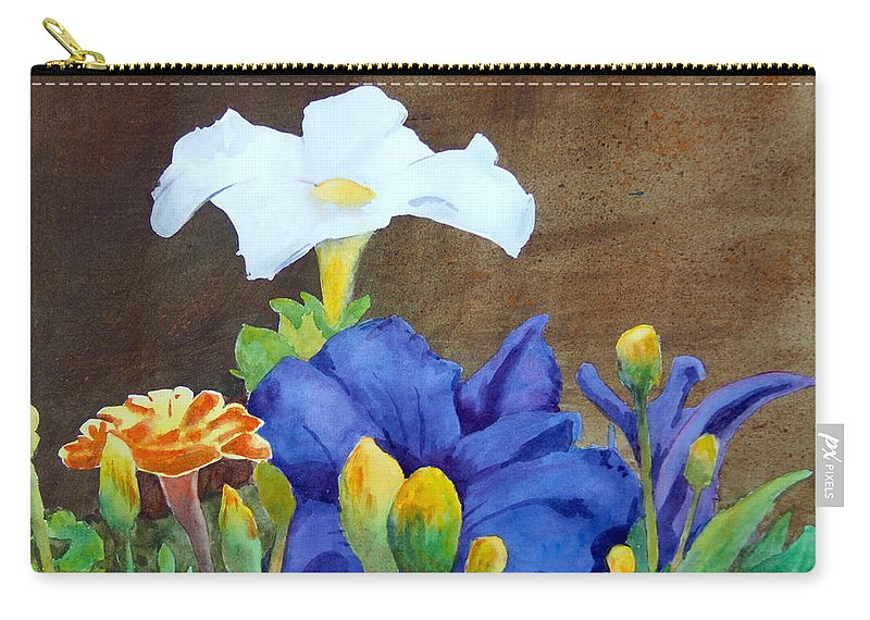 Flowers Carry-all Pouch featuring the painting White And Purple Petunia And Marigolds by Robert Burns