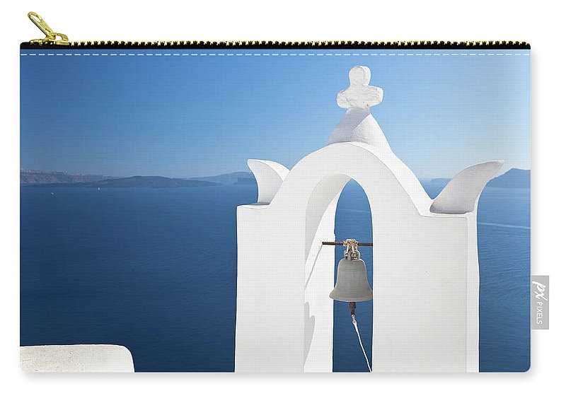 Greek Culture Carry-all Pouch featuring the photograph White Bell Tower And Blue Sea by Michaelutech