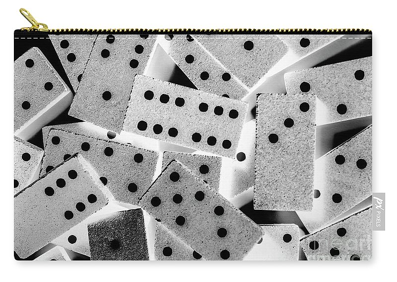 Game Carry-all Pouch featuring the photograph White Dots Black Chips by Jorgo Photography - Wall Art Gallery