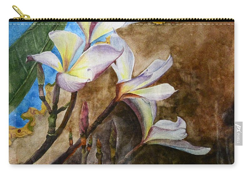Harryadi Dwitanto Rg Carry-all Pouch featuring the painting White Flower With Abstract Background by Harryadi Dwitanto