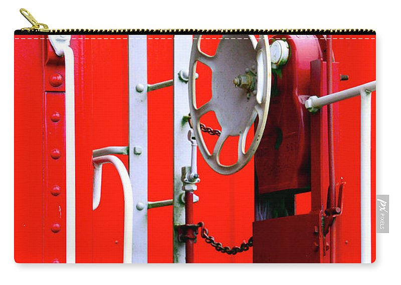 D2-rr-3804 Carry-all Pouch featuring the photograph White On Red Railroad Caboose by Paul W Faust - Impressions of Light