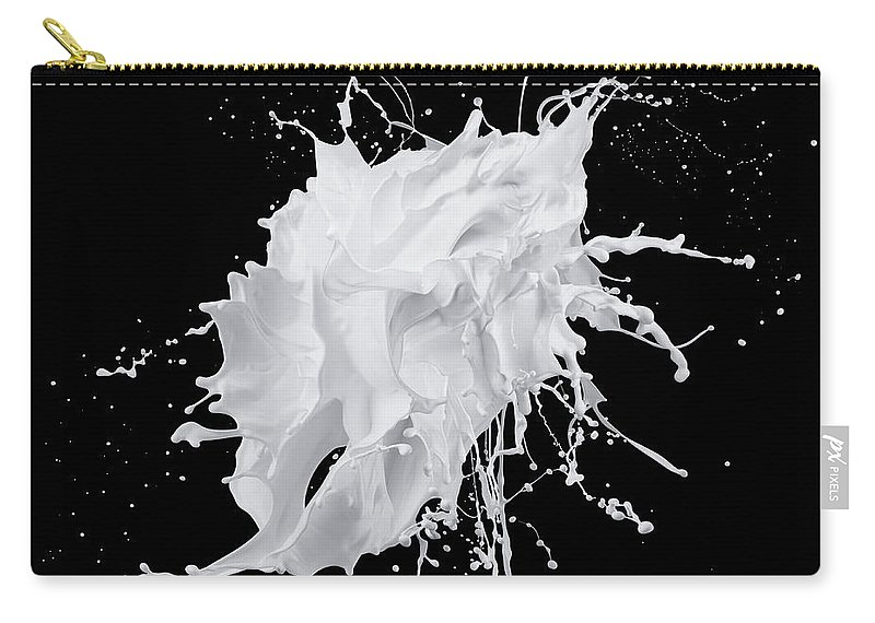 Black Background Carry-all Pouch featuring the photograph White Paint Splash On Black Background by Biwa Studio