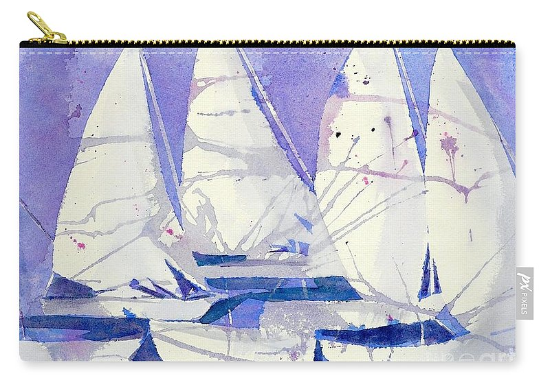 Sailboats Carry-all Pouch featuring the painting White Sails by Midge Pippel