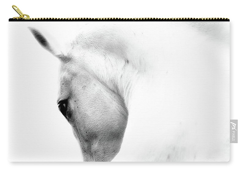 Horse Carry-all Pouch featuring the photograph White Stallion Andalusian Horse Neck by 66north