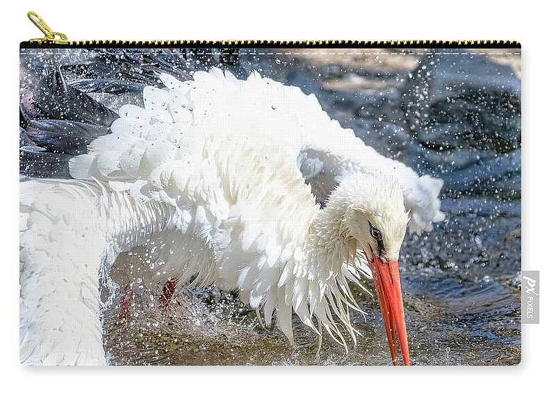 Water Stork Carry-all Pouch featuring the photograph White Stork Fishing by Nadia Sanowar