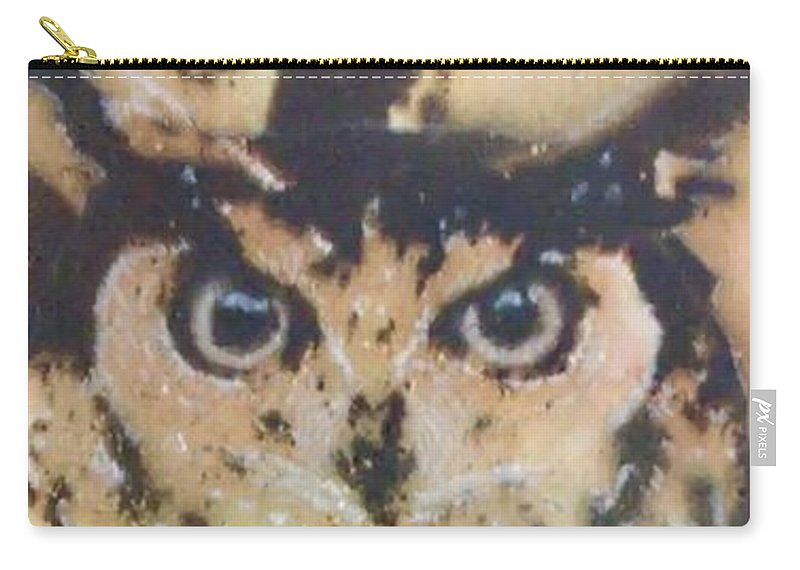 Gunpowder Carry-all Pouch featuring the pyrography Who? by Brandi Pfleider
