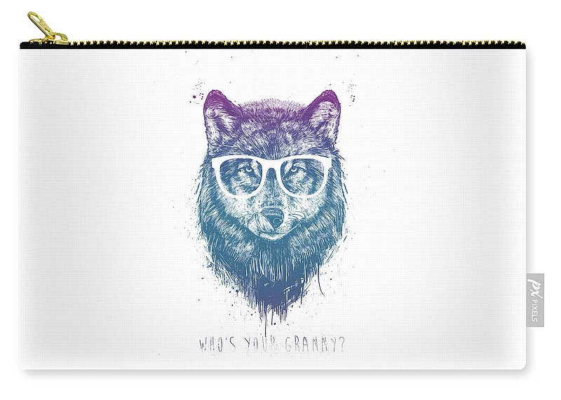 Wolf Carry-all Pouch featuring the mixed media Who's Your Granny? by Balazs Solti