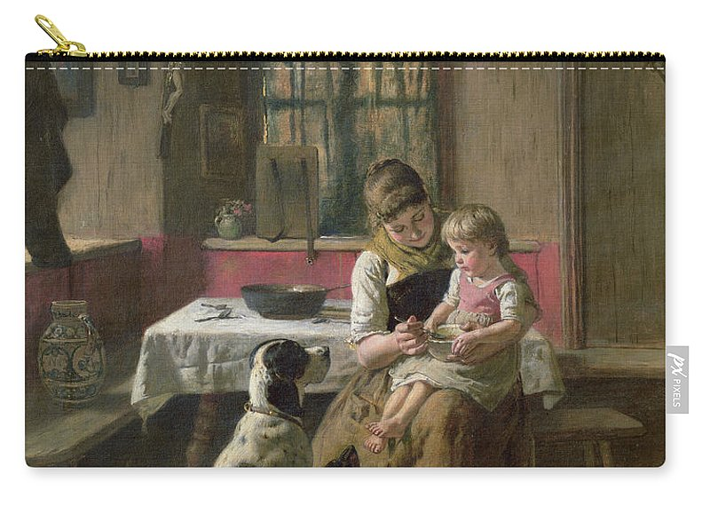 Dog Carry-all Pouch featuring the painting Whose Dinner Is It by Adolf Eberle