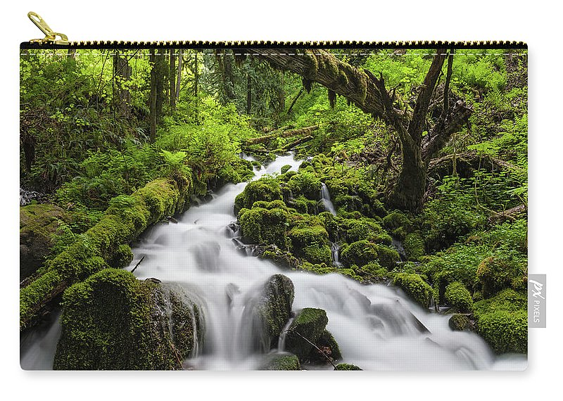Scenics Carry-all Pouch featuring the photograph Wild Forest Waterfall Idyllic Green by Fotovoyager