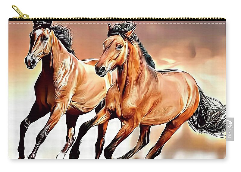 Horse Carry-all Pouch featuring the digital art Wild Horses by Russ Carts