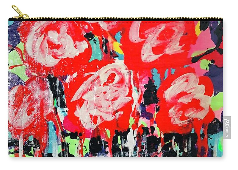 Roses Carry-all Pouch featuring the mixed media Wild Rose by Shay Livenspargar