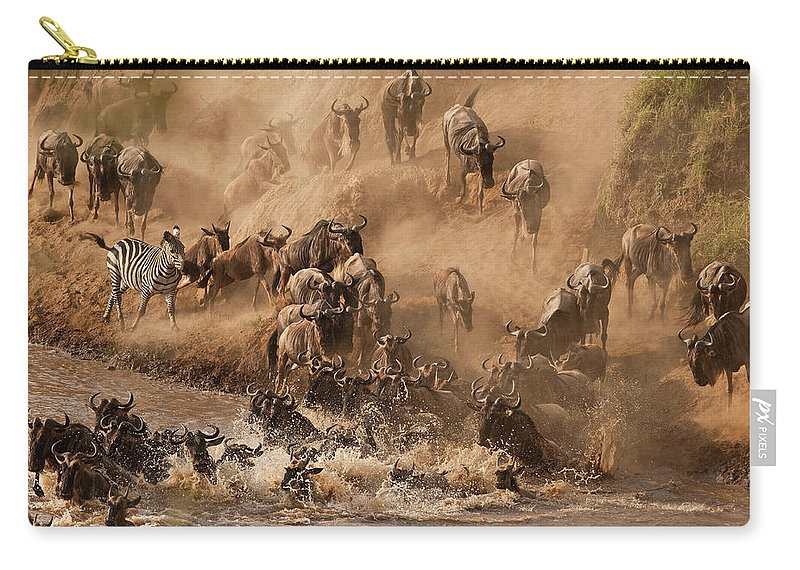 Horned Carry-all Pouch featuring the photograph Wildebeest And Zebra by Marsch1962uk