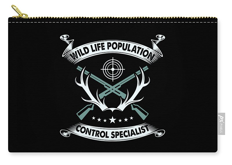 Weapon Carry-all Pouch featuring the digital art Wildlife Population Control Specialist by Mister Tee