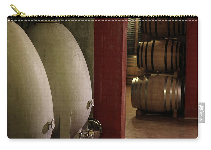 Aging Process Carry-all Pouch featuring the photograph Wine Cellar by Tom And Steve