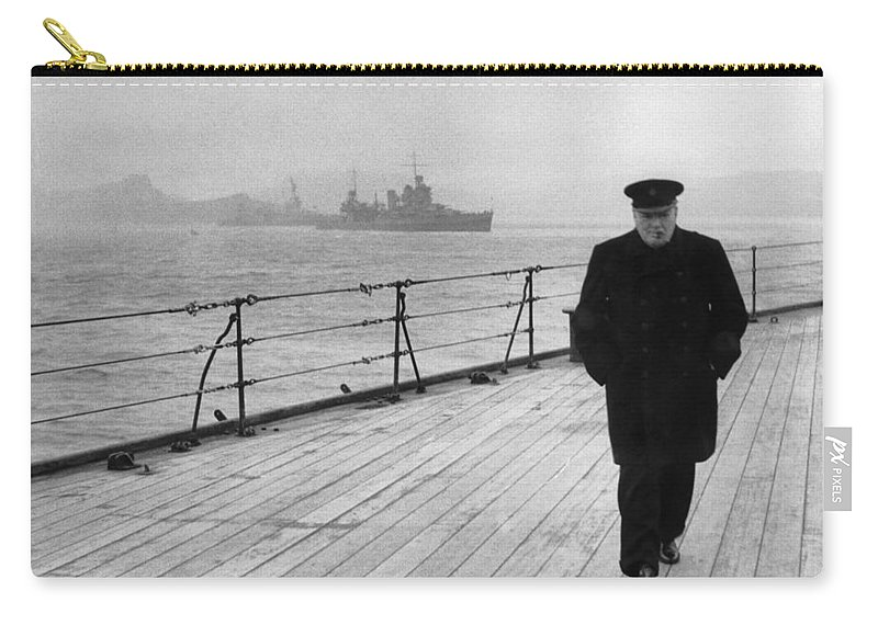 Winston Churchill Carry-all Pouch featuring the photograph Winston Churchill At Sea by War Is Hell Store