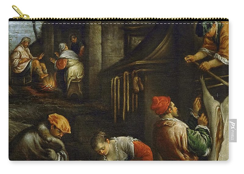 Francesco Bassano Ii (1549-1592) Carry-all Pouch featuring the painting Winter by Francesco Bassano II