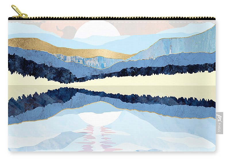 Watercolor Carry-all Pouch featuring the digital art Winter Reflection by Spacefrog Designs