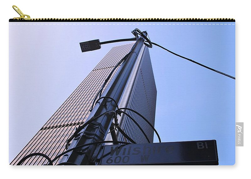 City Carry-all Pouch featuring the photograph Wired Wilshire Downtown by Matt Quest