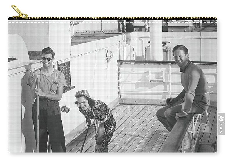 Young Men Carry-all Pouch featuring the photograph Woman And Two Men On Cruiser Deck, B&w by George Marks