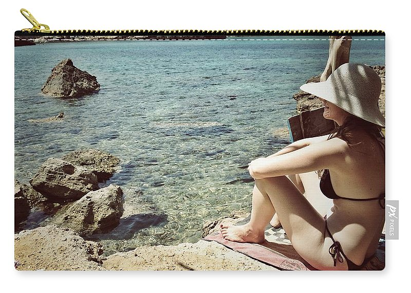 Shadow Carry-all Pouch featuring the photograph Woman At The Beach With Hat by Image Taken By Mayte Torres