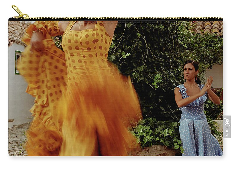 Blurred Motion Carry-all Pouch featuring the photograph Woman Flamenco Dancer, Outdoors by Tim Macpherson