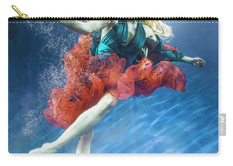 Underwater Carry-all Pouch featuring the photograph Woman Reaching Underwater by Zena Holloway