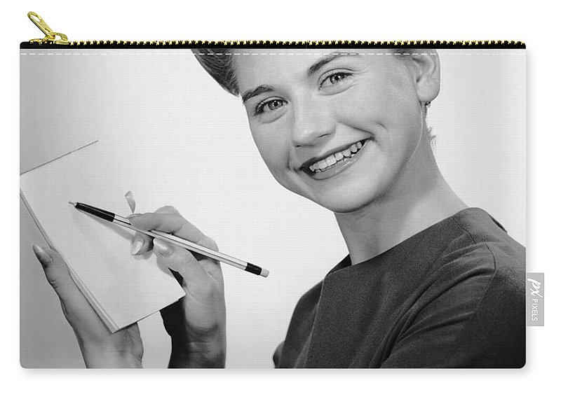 People Carry-all Pouch featuring the photograph Woman Smiling Wpen & Pad by George Marks