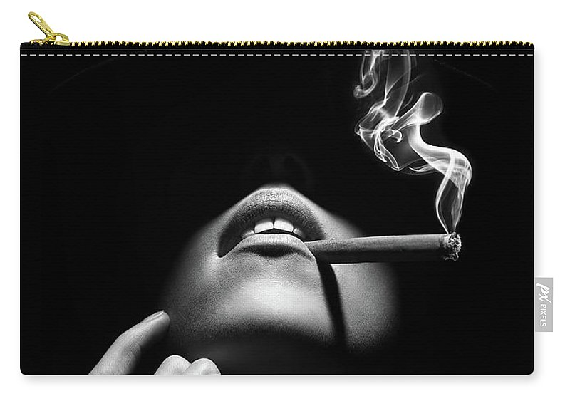 Woman Carry-all Pouch featuring the photograph Woman smoking a cigar by Johan Swanepoel
