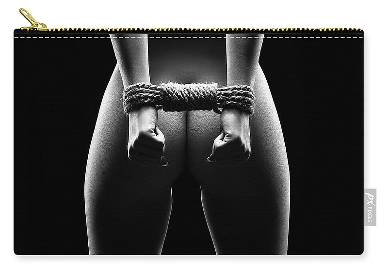 Woman Carry-all Pouch featuring the photograph Woman's hands in bondage by Johan Swanepoel