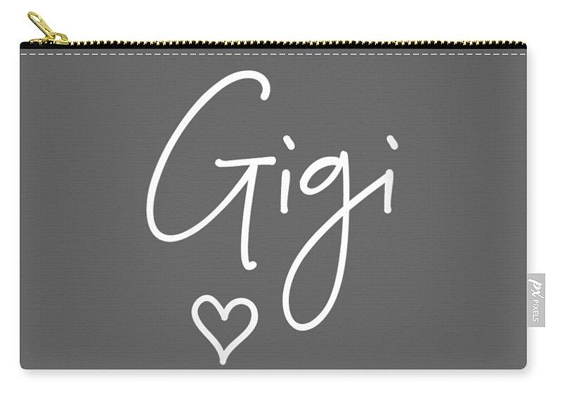 women's Shops Carry-all Pouch featuring the digital art Womens Gigi For Grandma Birthday Christmas Women Gifts Vneck Tshirt by Do David