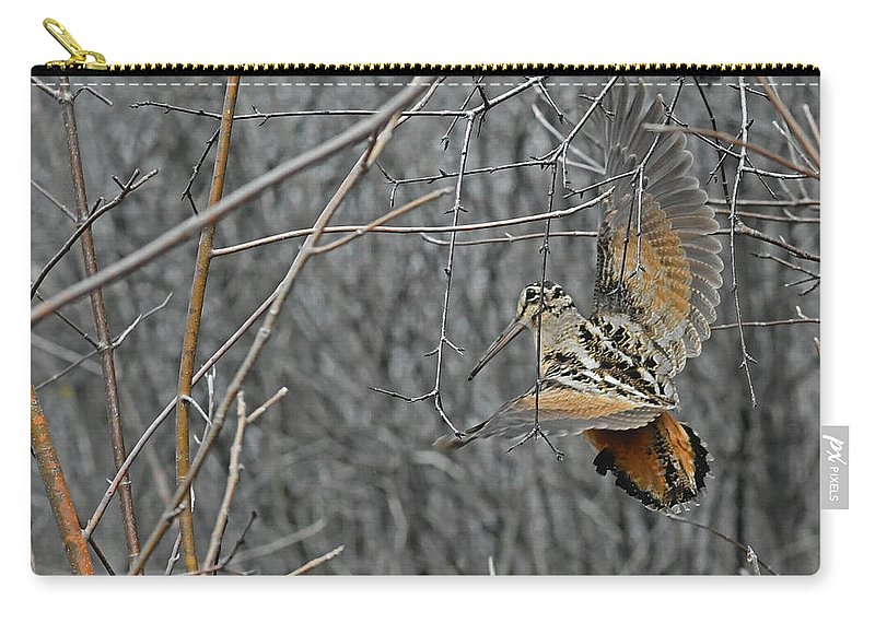 American Woodcock Carry-all Pouch featuring the photograph Woodcock Feathers by Asbed Iskedjian