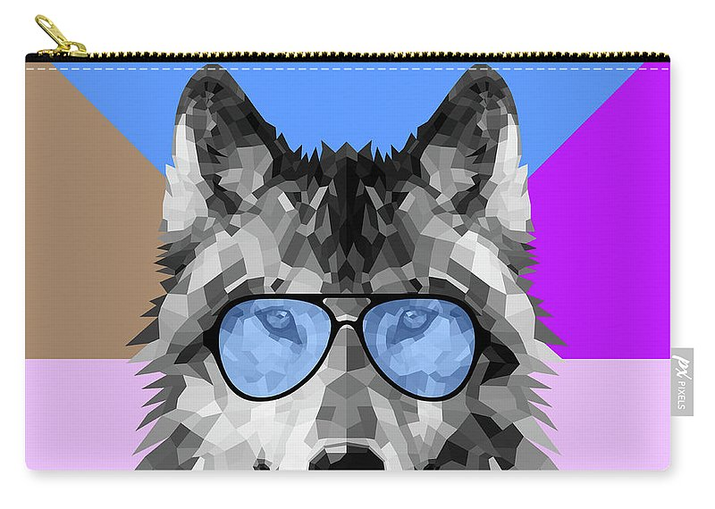 Wolf Carry-all Pouch featuring the digital art Woolf In Blue Glasses by Naxart Studio