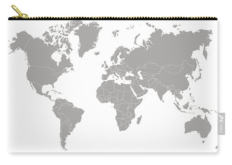 South America Carry-all Pouch featuring the digital art World Map Outline In Gray Color by Chokkicx