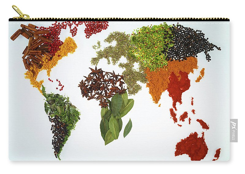 Large Group Of Objects Carry-all Pouch featuring the photograph World Map With Spices And Herbs by Yamada Taro