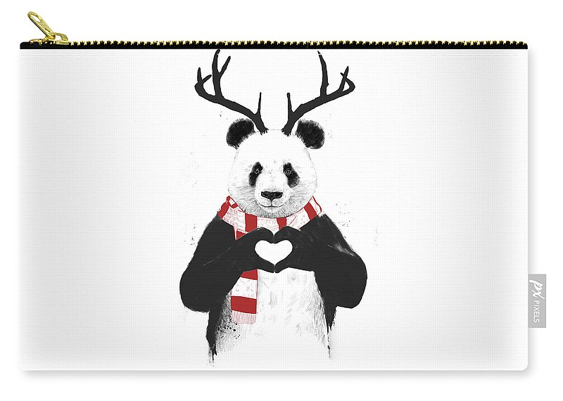 Panda Carry-all Pouch featuring the drawing Xmas panda by Balazs Solti