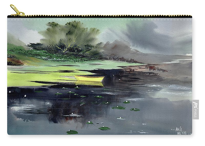Nature Carry-all Pouch featuring the painting Yellow Boat by Anil Nene