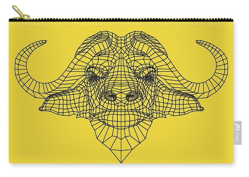 Buffalo Carry-all Pouch featuring the digital art Yellow Buffalo by Naxart Studio