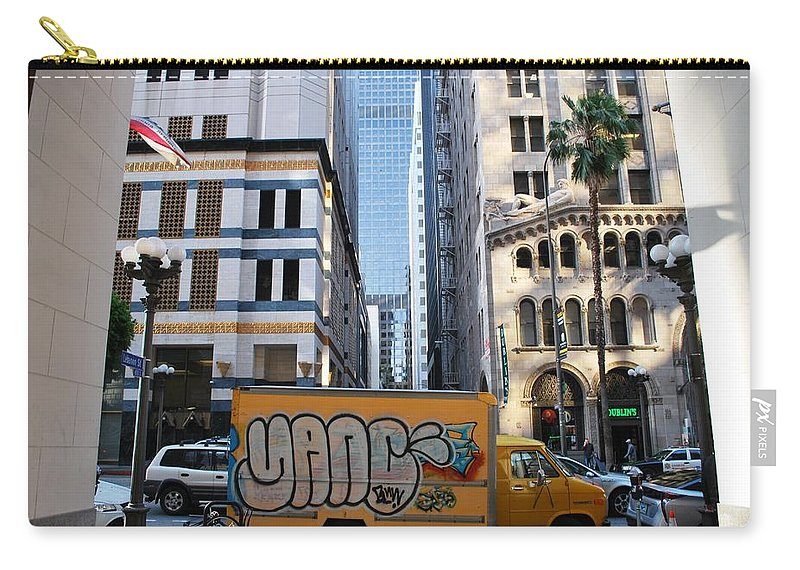 City Carry-all Pouch featuring the photograph Yellow Graffiti Truck Downtown La by Matt Quest