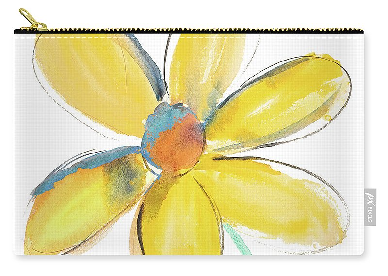 Yellow Carry-all Pouch featuring the painting Yellow Summer Daisy by Susan Bryant